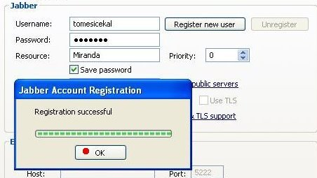 uspesna registrace na jabber server